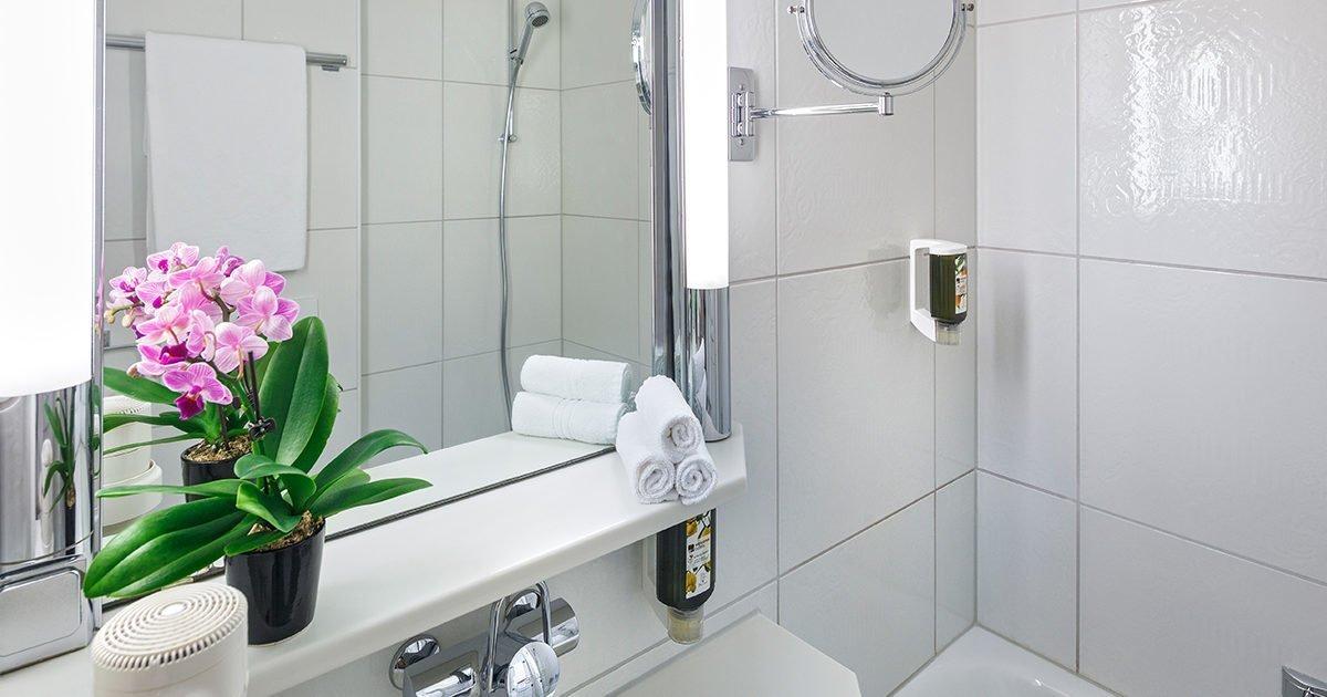 Salle de bains de chambre double à deux lits Hôtel Coronado, Zurich, welcome hotels
